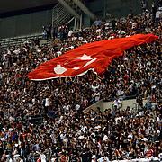 Besiktas's supporters during their Turkish Super League soccer derby match Besiktas between Trabzonspor at the Ataturk Olimpiyat stadium in Istanbul Turkey on Saturday, 22 August 2015. Photo by Aykut AKICI/TURKPIX