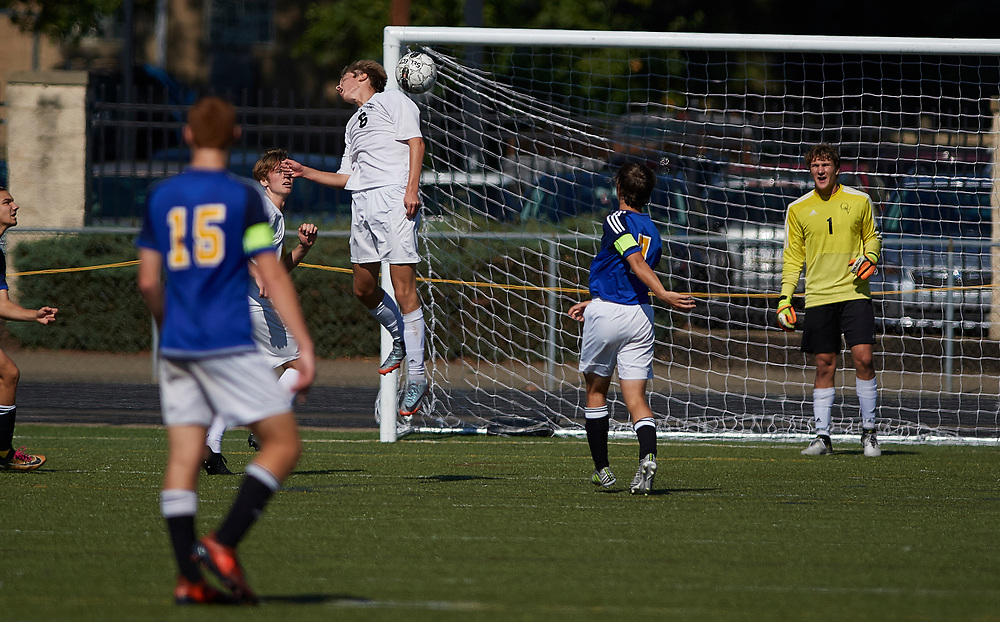 SEWICKLEY, PA - OCTOBER 14:  During a boys high school exhibition game between Quaker Valley and Canon-McMillan at Chuck Knox Stadium on October 14, 2017 in Leetsdale, PA .  The Quakers went on to win 7-2. (Photo by Shelley Lipton)