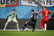 Olivier Giroud of France and Thibaut Courtois, Toby Alderweireld of Belgium during the 2018 FIFA World Cup Russia, Semi Final football match between France and Belgium on July 10, 2018 at Saint Petersburg Stadium in Saint Petersburg, Russia - Photo Thiago Bernardes / FramePhoto / ProSportsImages / DPPI