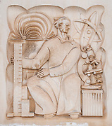 Bas-relief depicting science and education on the building of Biblioteca Geral Da Universidade De Coimbra, Coimbra university library, Portugal