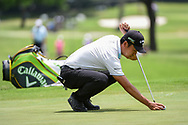 Kevin Na (USA) lines up his birdie putt on 2 during round 3 of the 2019 Charles Schwab Challenge, Colonial Country Club, Ft. Worth, Texas,  USA. 5/25/2019.<br /> Picture: Golffile | Ken Murray<br /> <br /> All photo usage must carry mandatory copyright credit (© Golffile | Ken Murray)