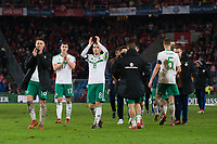 Northern Ireland's Steven Davis and Oliver Norwood applauds the fans at the final whistle <br /> <br /> Photographer Craig Mercer/CameraSport<br /> <br /> 2018 FIFA World Cup play-off Round 2 - 2nd Round - Second leg - Switzerland v Northern Ireland - Sunday 12th November 2017 - St. Jakob-Park - Basel - Switzerland<br /> <br /> World Copyright © 2017 CameraSport. All rights reserved. 43 Linden Ave. Countesthorpe. Leicester. England. LE8 5PG - Tel: +44 (0) 116 277 4147 - admin@camerasport.com - www.camerasport.com