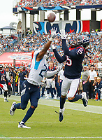 NASHVILLE, TN - SEPTEMBER 16:  Will Fuller V #15 of the Houston Texans makes a touchdown reception against Malcolm Butler #21 of the Tennessee Titans during the second half at Nissan Stadium on September 16, 2018 in Nashville, Tennessee.  (Photo by Frederick Breedon/Getty Images)