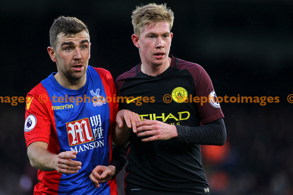 James McArthur and Kevin De Bruyne await a cross during the Premier League match between Crystal Palace and Manchester City at Selhurst Park in London. Novemeber 19, 2016.<br /> Jack Beard / Telephoto Images<br /> +44 7967 642437