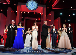 President Donald Trump and First Lady Melania Trump appear with family members and Vice President Mike Pence and his wife Karen Pence at the Liberty Ball at the Washington Convention Center on January 20, 2017 in Washington, D.C. Trump will attend a series of balls to cap hisInauguration day. Photo by Kevin Dietsch/UPI