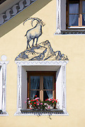 Painting of a Alpine Ibex, Steinbock, in the village of Susch, Switzerland