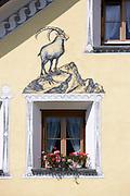 Painting of a Alpine Ibex, Steinbock, in the village of Susch, Switzerland