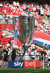 A giant trophy during the Sky Bet Championship Final at Wembley Stadium, London.