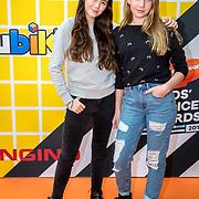 NLD/Amsterdam/20180325 - Nickelodeon Kid's Choice Awards 2018, Winnaars Jade en Gina van You Tube-kanaal Girlys Blog