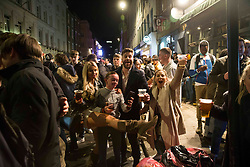 © Licensed to London News Pictures.  17/04/2021. London, UK. Members of the public make the most of Saturday night out in Soho, central London. Earlier this week Lockdown restrictions were eased to allow non essential retail and outdoor dining to reopen. Photo credit: Marcin Nowak/LNP