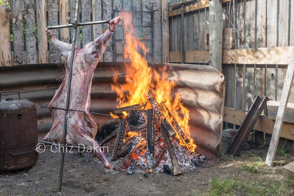 A traditional asado (BBQ sheep), El Chalten