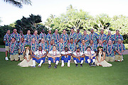 KO OLINA - FEBRUARY 11:  NFC Atlanta Falcons coaching staff (including head coach Jim Mora, top row, 9th from left), Atlanta Falcons 2005 NFL Pro Bowl All-Stars (bottom row left to right: Alge Crumpler #83, Patrick Kerney #97, Michael Vick #7, Allen Rossum #20, Keith Brooking #56), and Hawaiian Hula girls pose for their 2005 NFL Pro Bowl team photo on February 11, 2005 in Ko Olina, Hawaii. ©Paul Anthony Spinelli