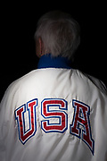 Old Olympian wearing Olympic Jacket