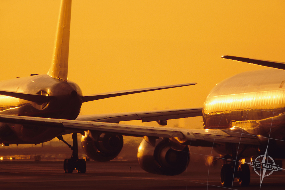 Commercial airliners waiting for take off