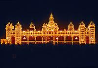 Maharaja's Palace illuminated at night, Mysore, Karnataka, India