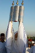 Israel, West Bank, samaritan priest raising of the Torah Scrolls ceremony on mount gerizim during Shavuot festival