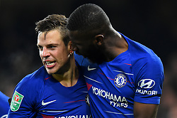 January 24, 2019 - London, England, United Kingdom - Chelsea defender Antonio Rudiger celebrates with Chelsea defender Cesar Azpilicueta after their second goal during the Carabao Cup match between Chelsea and Tottenham Hotspur at Stamford Bridge, London on Thursday 24th January 2019. (Credit Image: © Mark Fletcher/NurPhoto via ZUMA Press)