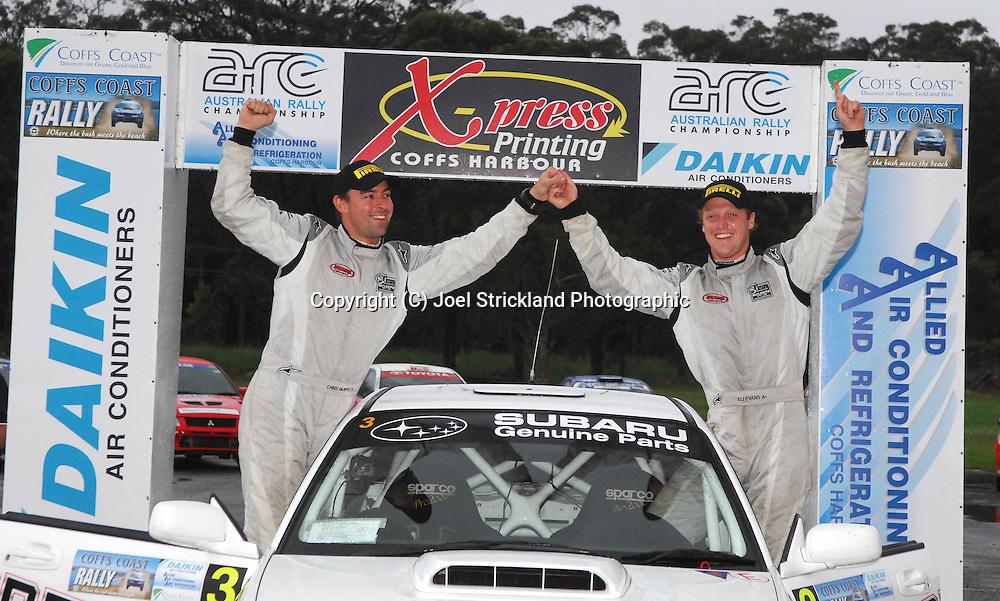 Eli Evans & Chris Murphy on he podium after winning the rally.Motorsport-Rally/2008 Coffs Coast Rally.Heat 2.Coffs Harbour, NSW.16th of November 2008.(C) Joel Strickland Photographics