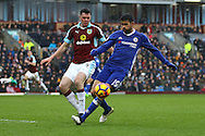 Diego Costa of Chelsea shields the ball from Michael Keane of Burnley. Premier league match, Burnley v Chelsea at Turf Moor in Burnley, Lancs on Sunday 12th February 2017.<br /> pic by Chris Stading, Andrew Orchard Sports Photography.