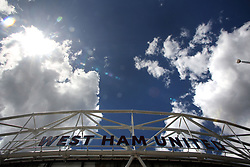 14 May 2017 - Premier League Football - West Ham United v Liverpool - The West Ham United sign is silhouetted against the sun - Photo: Charlotte Wilson