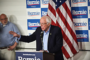 Bernie Sanders Speaking to a Group of Reporters at a Rally in Southern California