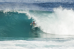 December 11, 2017 - Haleiwa, Hawaii, U.S. - Wildcard Benji Brand of HAwaii will surf in Round Two of the 2017 Billabong Pipe Masters after placing second in Heat 5 of Round One at Pipe, Oahu, Hawaii, USA.  Brand was part of the upset heat when World Title contender Gabriel Medina of Brazil placed third in the heat...Billabong Pipe Masters 2017. (WSL via ZUMA Wire/ZUMAPRESS.com)