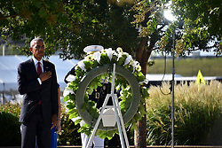 September 11, 2016 - Arlington, United States of America - U.S President Barack Obama salutes after placing a wreath at the memorial during a ceremony commemorating the 15th anniversary of the 9/11 terrorist attacks at the Pentagon September 11, 2016 in Arlington, Virginia. (Credit Image: © Po2 Patrick Kelley/Planet Pix via ZUMA Wire)