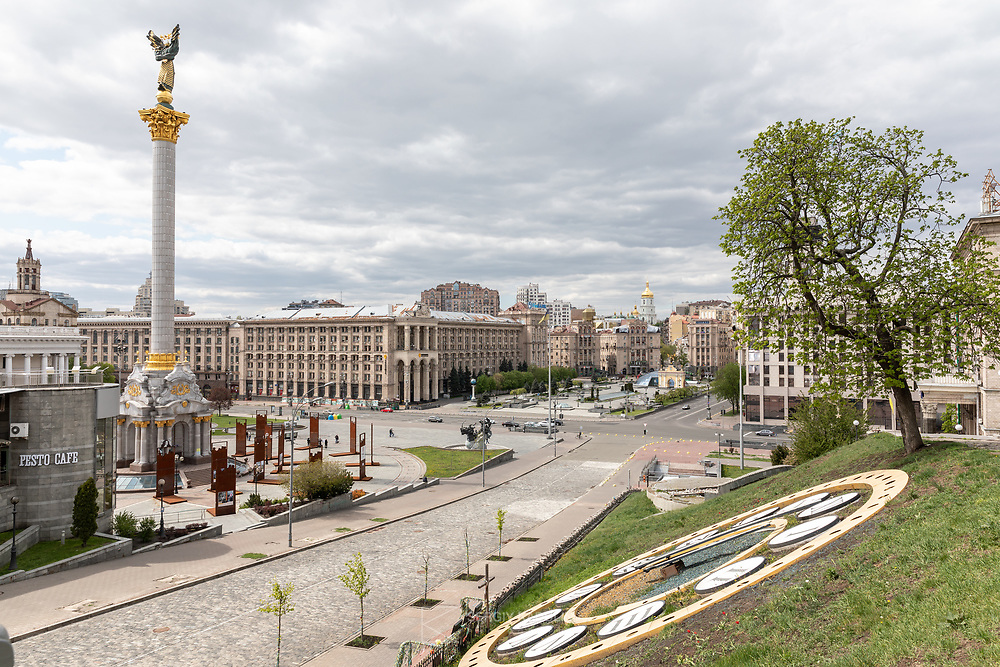 Central Independence Square looks empty during Covid lockdown. Kyiv, April 2020.