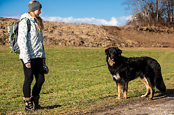 Young woman with her dog walking, on February 4, 2019, in Smlednik, Slovenia. Photo by Vid Ponikvar / Sportida