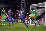 Yannick Bolasie of Crystal Palace sees a shot  for goal blocked by Patrick van Aanholt of Sunderland. Barclays Premier league match, Crystal Palace v Sunderland at Selhurst Park in London on Monday 23rd November 2015.<br /> pic by John Patrick Fletcher, Andrew Orchard sports photography.