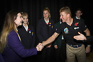 British Astronaut Tim Peake pictured with students from his former school, Chichester High School, during the UK Space Agency Schools Conference hosted by the University of Portsmouth at the Guildhall in the city.<br /> The conference celebrated the work of over a million UK school students inspired by Peake's Principia mission, which saw the flight dynamics and evaluation graduate spend more than six months on board the International Space Station.<br /> Youngsters had the chance to present their work through talks and exhibitions to experts from the UK Space Agency, European Space Agency (ESA), partner organisations and the space sector. Most also had the chance to meet Tim.<br /> Picture date Wednesday 2nd November, 2016.<br /> Picture by Christopher Ison for the University of Portsmouth.<br /> Contact +447544 044177 chris@christopherison.com