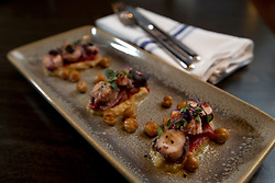 Pulpo y garbanzo (octopus and chick peas) at La Marchas Tapas Bar, photographed Wednesday, Jan. 13, 2016, in Berkeley, Calif. (Photo by D. Ross Cameron)