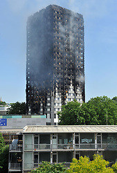 The view from the flat of Maureen Franklin, 76, who witnessed the fire engulfing the 24-storey Grenfell Tower in west London.
