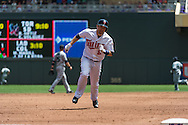Brian Dozier #2 of the Minnesota Twins sprints for 3rd base against the Seattle Mariners on June 2, 2013 at Target Field in Minneapolis, Minnesota.  The Twins defeated the Mariners 10 to 0.  Photo: Ben Krause
