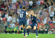 Wembley, Great Britain, USA  N0. 10 Carli LLOYD, runs over to her team mate Kelly O'HARA, after scoring her second goal in the second half, of the 2-1 USA victory over Japan. 2012 London Olympic , Women's Football, Gold Medal Match at Wembley Stadium, USA vs Japan,2 0:54:47  Thursday  09/08/2012 [Mandatory Credit: Peter Spurrier/Intersport Images].