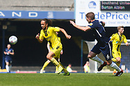 Burton Albion midfielder Marcus Harness (16) attacks against Southend United defender Michael Turner (6) during the EFL Sky Bet League 1 match between Southend United and Burton Albion at Roots Hall, Southend, England on 22 April 2019.
