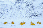 TREKKING,NEPAL KANCHENJUNGA  8586M./28,162' from N. base camp, tents in snow