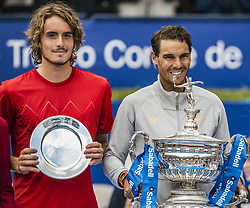 April 29, 2018 - Barcelona, Catalonia, Spain - STEFANOS TSITSIPAS (GRE) and RAFAEL NADAL (ESP) present their trophies at the 'Barcelona Open Banc Sabadell' after their final. Nadal won  6:2, 6:1 (Credit Image: © Matthias Oesterle via ZUMA Wire)