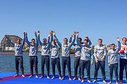 "Rio de Janeiro. BRAZIL.   2016 Olympic Rowing Regatta. Lagoa Stadium, GER M8+ Silver Mefalist, b Maximilian Munski, 2 Malte Jakschik, 3 Andreas Kuffner, 4 Eric Johannesen, 5 Maximilian Reinelt, 6 Felix Drahotta<br /> , 7  Richard Schmidt, Stroke  Hannes Ocik<br /> , Cox Martin Sauer,   ""Olympic Summer Games""<br /> Rodrigo de Freitas Lagoon, Lagoa.   Saturday  13/08/2016 <br /> <br /> [Mandatory Credit; Peter SPURRIER/Intersport Images]"