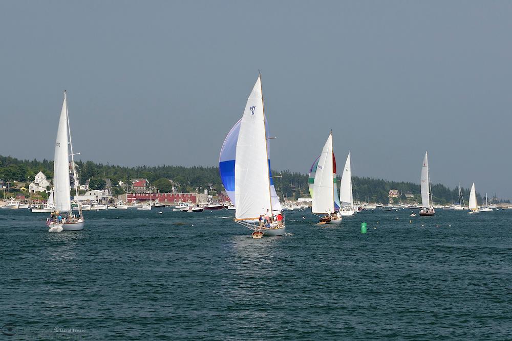 Sailboats race through Stonington Maine, USA.
