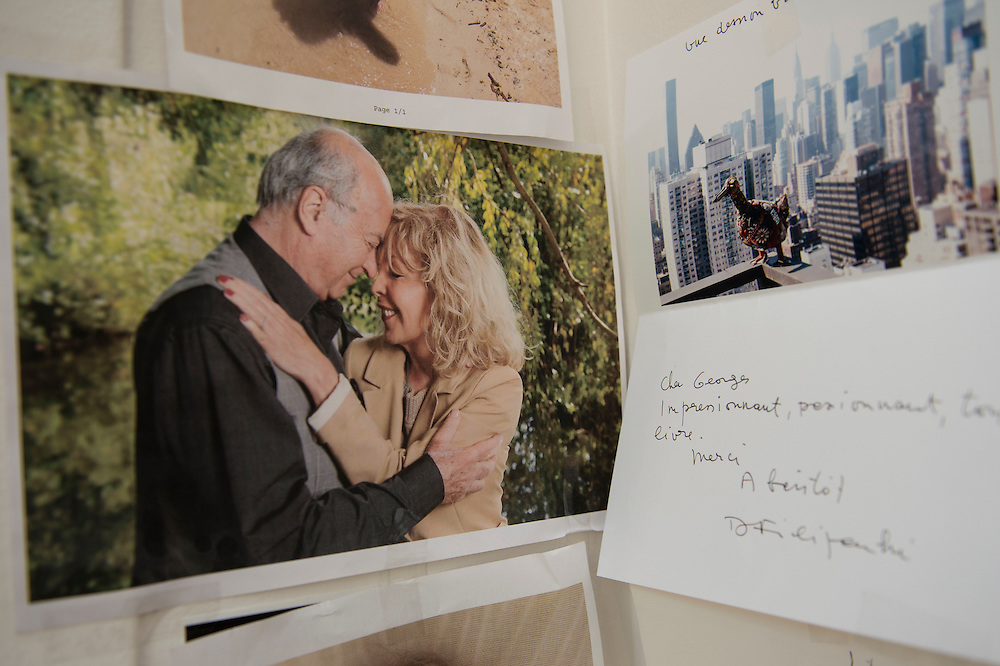 March 6, 2015, Paris, France. A photo in the apartment of the couple in Paris showing the assassinated cartoonist Georges Wolinski (1934 –2015) and Maryse Wolinski (1943, Algiers). Georges Wolinski and Maryse Wolinski were married and had lived for 47 years together. Two month after the death of Georges Wolinski, the apartment is full of souvenirs and notes, attesting a half-century-long love affair. Georges Wolinski was 80 years old when he was murdered by 2 French jihadists, he was one of the 12 victims of the massacre in the Charlie Hebdo offices on January 7, 2015 in Paris. Charlie Hebdo published caricatures of Mohammed, considered blasphemous by some Muslims. During his life, Georges Wolinski defended freedom, secularism and humour and was one of the major political cartoonists in France. Photo: Steven Wassenaar.