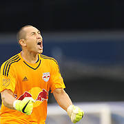Goalkeeper Luis Robles, New York Red Bulls, celebrates his sides victory at the final whistle during the New York City FC Vs New York Red Bulls, MSL regular season football match at Yankee Stadium, The Bronx, New York,  USA. 28th June 2015. Photo Tim Clayton