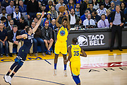 Golden State Warriors guard Nick Young (6) shoots a jumper against the Minnesota Timberwolves at Oracle Arena in Oakland, Calif., on January 25, 2018. (Stan Olszewski/Special to S.F. Examiner)