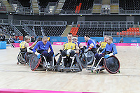 LONDON - APRIL 18: Sweden v Great Britain at the London International Invitational Wheelchair Rugby Tournament, London 2012 Olympics Test Event, Basketball Arena, Olympic Park, London, UK. April 18, 2012. (Photo by Richard Goldschmidt)