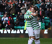 16.03.2013 Glasgow, Scotland.  Kris Commons and Joe Ledley celebrate the opening goal during the Clydesdale Bank Premier League match between, Celtic and Aberdeen, from Celtic Park Stadium.