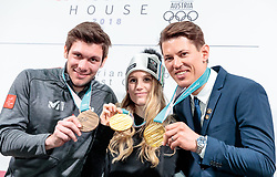 22.02.2018, Austria House, Pyeongchang, KOR, PyeongChang 2018, Medaillenfeier, im Bild v.l. Michael Matt (AUT), Anna Gasser (AUT), Andre Myhrer (SWE) mit ihren Medaillen // bronce medalist Michael Matt of Austria gold medalist and Olympic champion Anna Gasser of Austria gold medalist and Olympic champion Andre Myhrer of Sweden show their medals during a medal celebration of the Pyeongchang 2018 Winter Olympic Games at the Austria House in Pyeongchang, South Korea on 2018/02/22. EXPA Pictures © 2018, PhotoCredit: EXPA/ Johann Groder