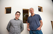 """Thomas Herndon (Left), Graduate student at the University of Massachusetts in Amherst, and Robert Pollin (Right), Co-Director of the Political Economy Research Institute at University of Massachusetts in Amherst, pose for a portrait in the Gordon Hall building in the UMass campus in Amherst, Massachusetts on June 26, 2013. Herndon and Pollin wrote an article that critiques and finds flaws in Reingart's and Rogoff's """"Growth in a Time of Debt"""" article."""