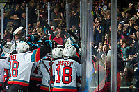 KELOWNA, BC - DECEMBER 30:  The Kelowna Rockets and their fans celebrate the overtime win against the Prince George Cougars at Prospera Place on December 30, 2019 in Kelowna, Canada. (Photo by Marissa Baecker/Shoot the Breeze)