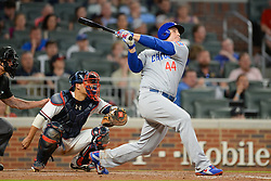 May 15, 2018 - Atlanta, GA, U.S. - ATLANTA, GA Ð MAY 15:  Cubs first baseman Anthony Rizzo (44) hits a deep fly ball during the game between Atlanta and Chicago on May 15th, 2018 at SunTrust Park in Atlanta, GA. The Chicago Cubs defeated the Atlanta Braves by a score of 3 -2.  (Photo by Rich von Biberstein/Icon Sportswire) (Credit Image: © Rich Von Biberstein/Icon SMI via ZUMA Press)