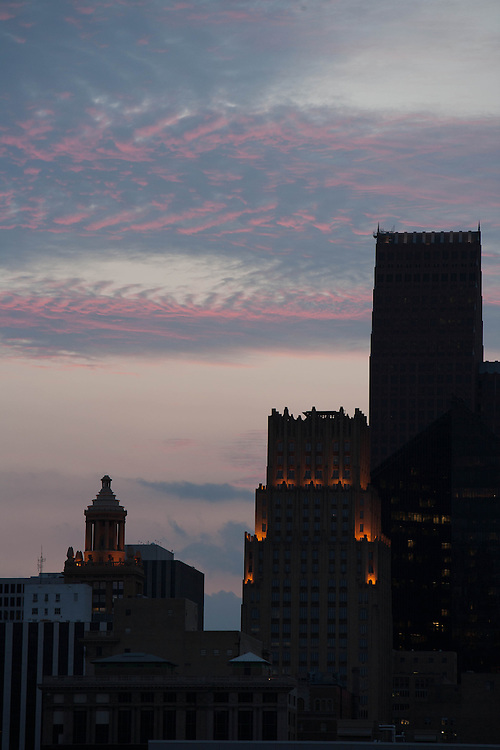 Niels Esperson and Gulf buildings in downtown Houston, Texas at sunset.